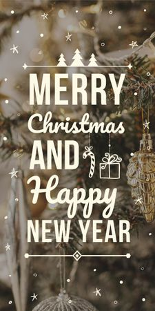 Modèle de visuel Christmas and New Year greeting with decorations - Graphic
