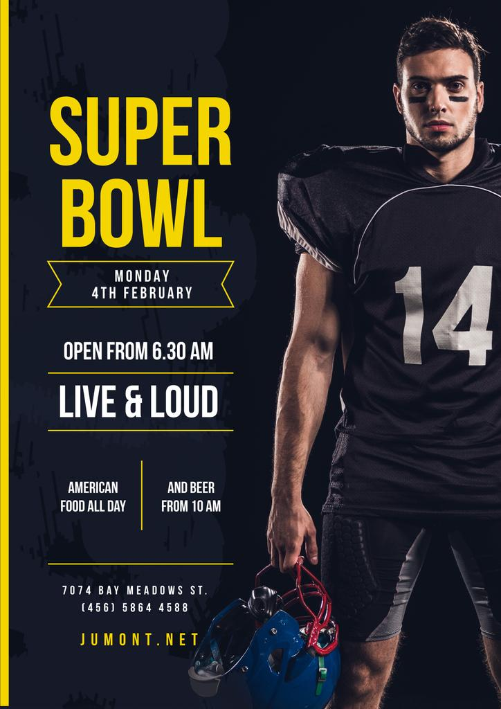 Super Bowl Match Offer with Player in Uniform — ein Design erstellen