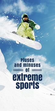 extreme sports banner with snowboarder