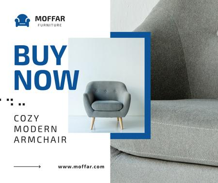 Furniture Store Ad Armchair in Grey Facebookデザインテンプレート
