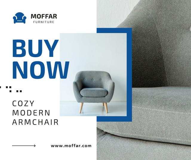 Furniture Store Ad Armchair in Grey Facebook Tasarım Şablonu