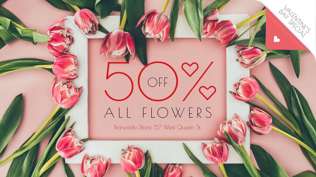 Valentine's Day Offer Tulip Flowers Frame — Créer un visuel