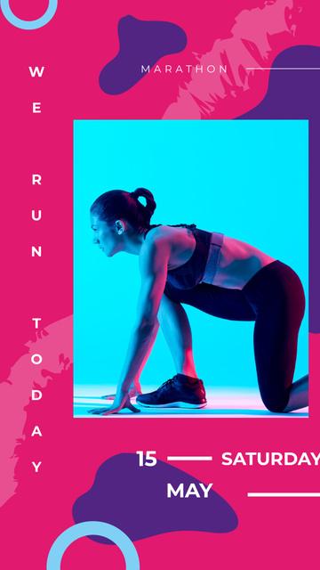 Woman runner at the start Instagram Story Modelo de Design