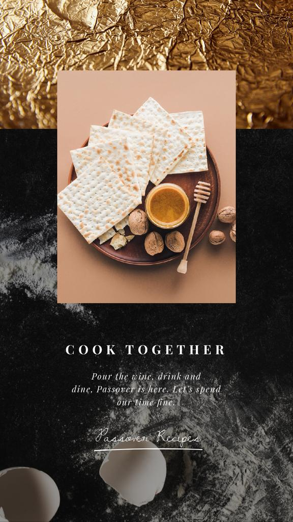 Happy Passover Table Unleavened Bread and Honey | Vertical Video Template — Modelo de projeto