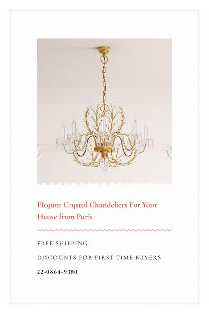 Elegant Crystal Chandelier Offer in White Tumblr Tasarım Şablonu