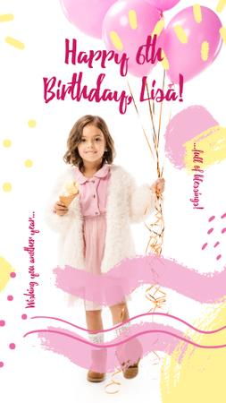 Girl holding Birthday balloons Instagram Story Design Template