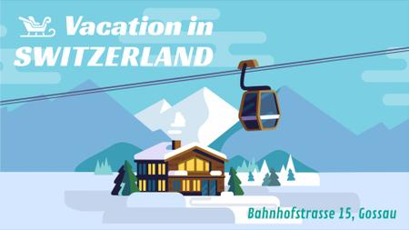 Plantilla de diseño de Snowy Mountain Resort Cable Car over Chalet Full HD video