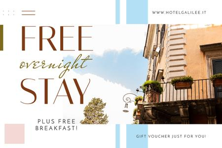 Hotel Offer with Old Building Facade Gift Certificate Modelo de Design