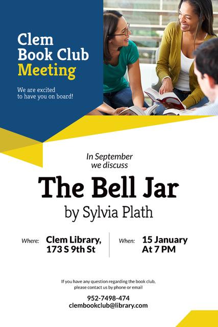 Book club meeting Annoucement Pinterest Modelo de Design