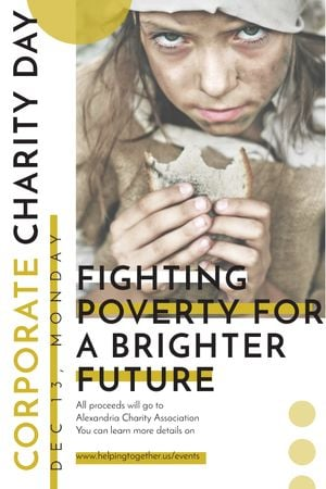 Ontwerpsjabloon van Tumblr van Poverty quote with child on Corporate Charity Day