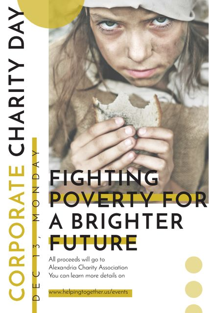Poverty quote with child on Corporate Charity Day Tumblr Design Template