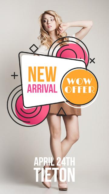 Designvorlage Fashion Sale with Stylish Young Girl für Instagram Video Story