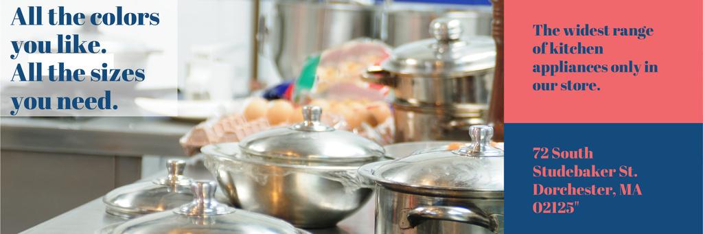 Kitchen Utensils Store Ad Pots on Stove — Create a Design