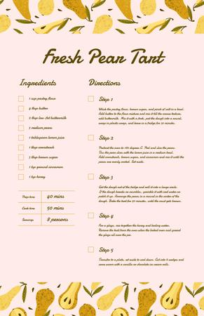 Fresh Pear Tart Recipe Card Modelo de Design
