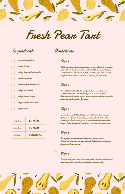 Template di design Fresh Pear Tart Recipe Card
