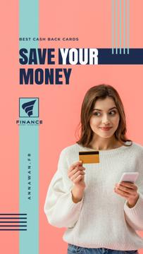 Cashback Service Ad Woman with Credit Card | Stories Template