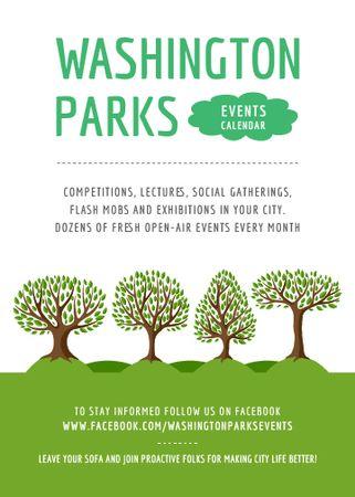 Ontwerpsjabloon van Flayer van Park Event Announcement Green Trees