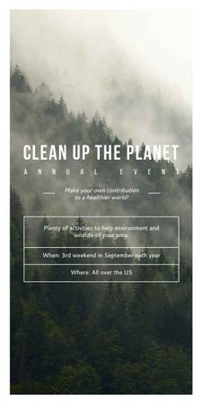 Plantilla de diseño de Ecological Event Foggy Forest View Graphic