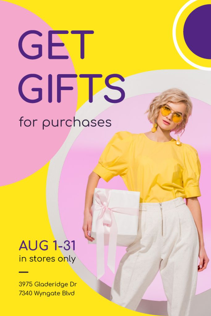 Shopping Offer Woman in Yellow Outfit — Créer un visuel