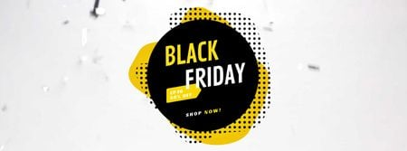 Black Friday Sale in Frame with confetti Facebook Video cover Modelo de Design
