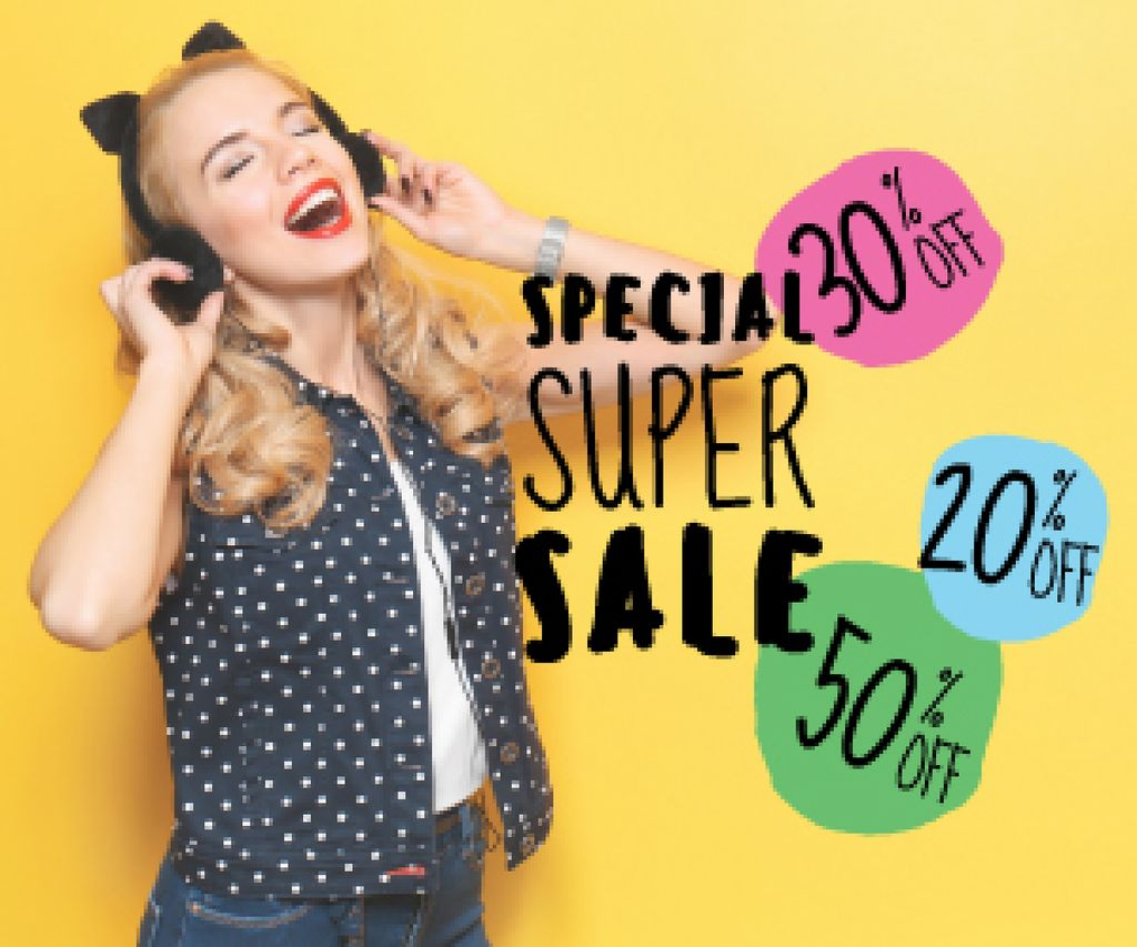 special super sale yellow banner with young woman in headphones — Create a Design