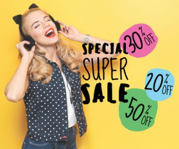 special super sale yellow banner with young woman in headphones