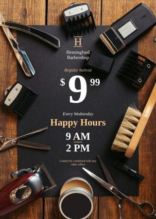 Designvorlage Barbershop Happy Hours Professional Tools für Flayer