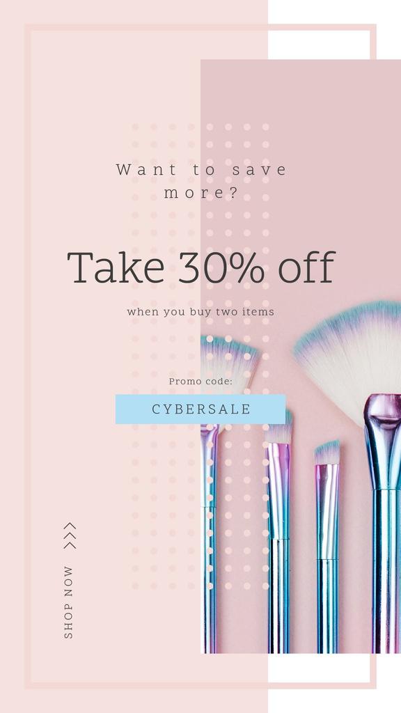 Szablon projektu Cyber Monday Sale Makeup brushes set Instagram Story