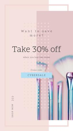 Designvorlage Cyber Monday Sale Makeup brushes set für Instagram Story