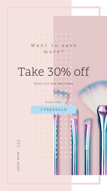 Modèle de visuel Cyber Monday Sale Makeup brushes set - Instagram Story