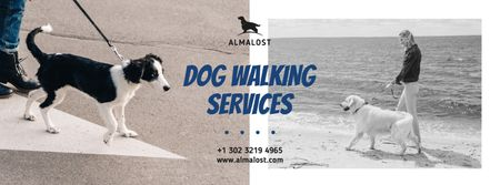 Dog Walking Services People with Dogs Facebook cover Design Template
