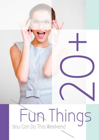 Fun things with Woman in glasses Poster Modelo de Design