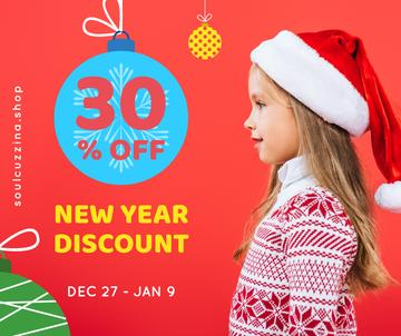 New Year Offer Child Girl in Santa Hat | Facebook Post Template