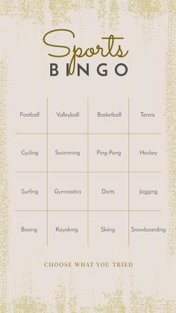 Modèle de visuel Sports Bingo check list - Instagram Story