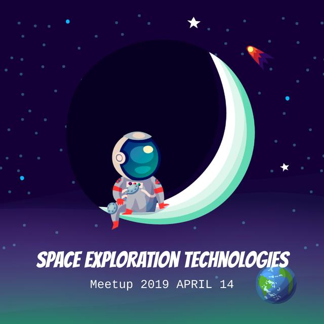 Astronaut swinging on the moon Animated Post – шаблон для дизайну