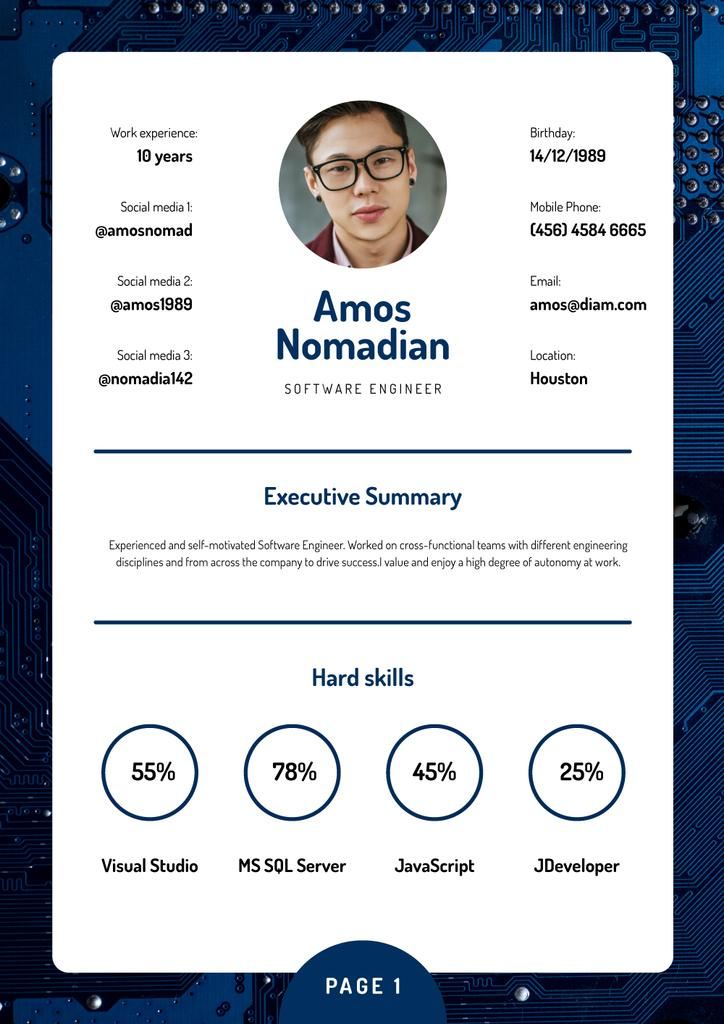 Professional Software Engineer skills and experience Resume Modelo de Design