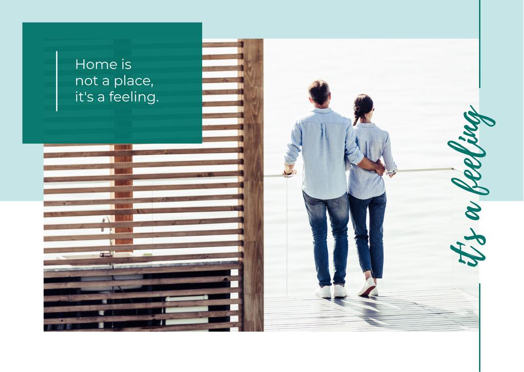 Couple hugging on balcony — ein Design erstellen