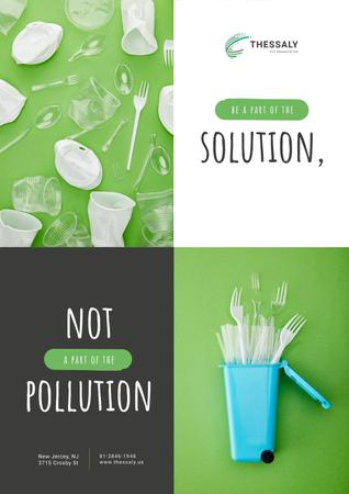 Template di design Plastic Waste Concept Disposable Tableware Poster