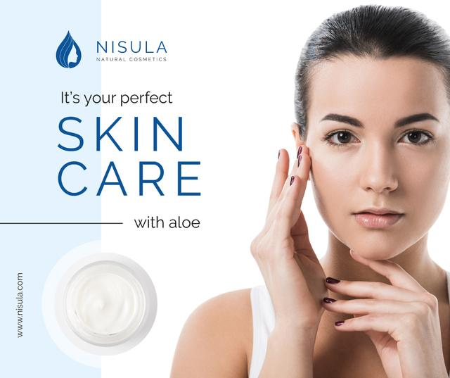 Plantilla de diseño de Cosmetics Sale Woman applying Cream Facebook