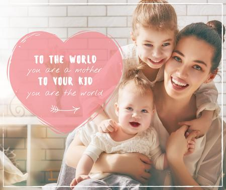 Mother's Day Happy Mom with Kids Facebookデザインテンプレート