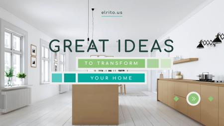 Plantilla de diseño de Modern Home Kitchen Interior in White Full HD video