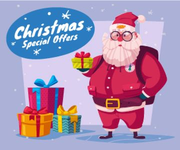 Christmas Holiday Sale Santa Delivering Gifts | Medium Rectangle Template