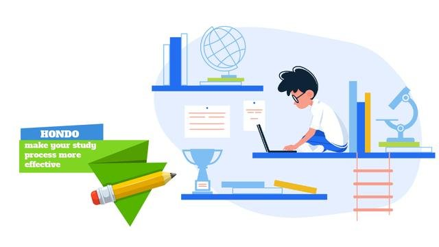 Template di design Boy studying with laptop Full HD video