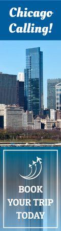Ontwerpsjabloon van Skyscraper van Chicago trip banner