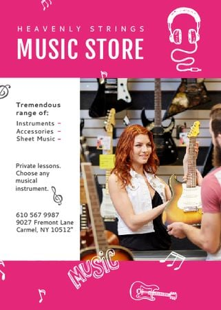 Ontwerpsjabloon van Flayer van Music Store Ad Woman Selling Guitar