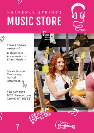 Music Store Ad Woman Selling Guitar Flayer Tasarım Şablonu