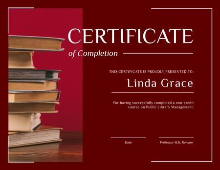 Plantilla de diseño de Library Educational Program Completion with books in red Certificate