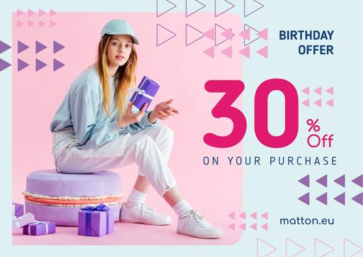 Birthday Offer Girl With Gifts In Purple