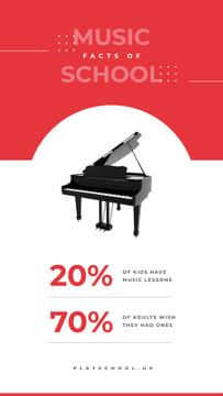Music school facts with Black grand piano
