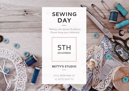 Sewing day event with needlework tools Postcard Tasarım Şablonu